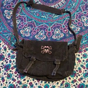 EMO PUNK Pink Skull with Bow Messenger Bag